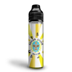 A bottle mockup of Lucha Juice Heavyweights High Flyer shortfill premium coffee flavoured e liquid. The bottle is a black 60ml unicorn and the label has a sunburst yellow and white background, featuring a blue lucha mask in the middle. This product image is the first on our Top 10 E Liquid Flavours list.