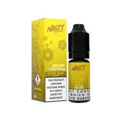 A bottle of 10mg Nasty Salts Cush Man E liquid