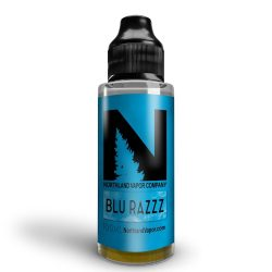 A bottle mockup of Northland Vapor Blu Razzz e Liquid. The bottle is a black Husky 120ml plastic bottle, the label has a blue background with a black Northland Vapor logo in the top portion of the label.